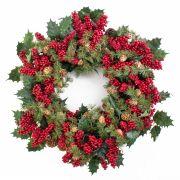 Umělý vánoční věnec LYKKE, cesmíra, s šišky, červená, Ø50cm