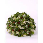 Umělá květinová aranžmá jmelí a cesmína MALTE, zeleno-bílá, 20cm, Ø20cm