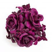 Textilní věnec na svíčku INGA, růže, hortenzie, fialová, Ø10cm