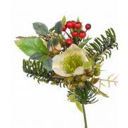 Umělá zimní kytice LILLY čemeřice, s bobulami, krémová, 17cm, Ø12cm
