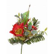 Umělá zimní kytice LILLY čemeřice, s bobulami, červená, 17cm, Ø12cm