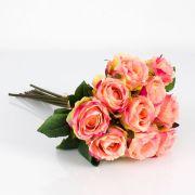 Umělá kytice růží MOLLY, růžovo-žlutá, 35cm, Ø20cm