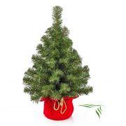 Plastový vánoční stromek WARSCHAU, jutový pytel červená, 60cm, Ø40cm