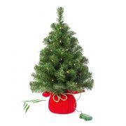 Plastový vánoční stromek WARSCHAU, jutový pytel červená, LED diody, 60cm, Ø40cm
