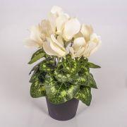Umělý brambořík HEIDI v dekoračním květináči, krémová, 25cm, Ø5-8cm