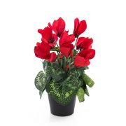Umělý brambořík HEIDI v dekoračním květináči, červená, 25cm, Ø5-8cm