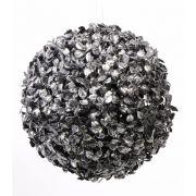 Umělá koule na stromek FRITZ, třpytky, černo-stříbrná, Ø22cm